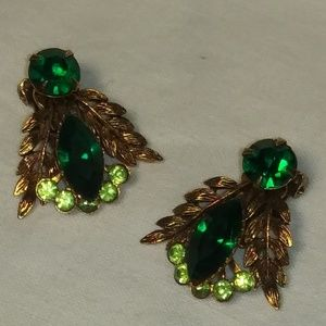 Vintage Green Rhinestone Earrings